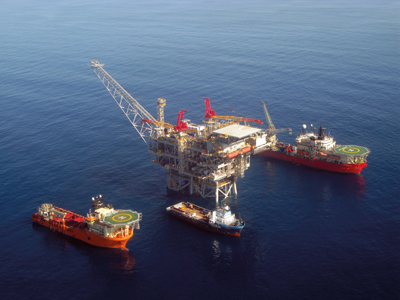 Das israelische Tiefseegasfeld Tamar: 2009 entdeckt, 90 Kilometer von Haifa entfernt, 240 Milliarden Kubikmeter, 50 Jahre Gas für Israel. / © flash90