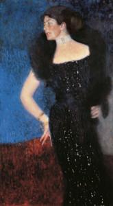 Dame in Schwarz. Klimts Gemälde verdeutlich dessen  charakteristischen Arbeitsprozess um 1900.