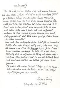 Declaracão – Stefan Zweigs Abschiedsbrief, verfasst am 22. Februar 1942, aufgefunden auf dem Schreibtisch des Schriftstellers in seinem Haus in Petrópolis.