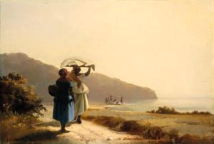 ro: Zwei schwatzende Frauen am Meer,1856.